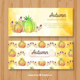 Watercolor banners with pumpkins