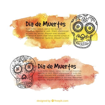 Watercolor banners with skulls for day of the dead