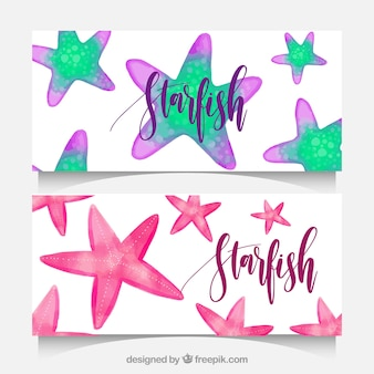 Watercolor banners with starfish