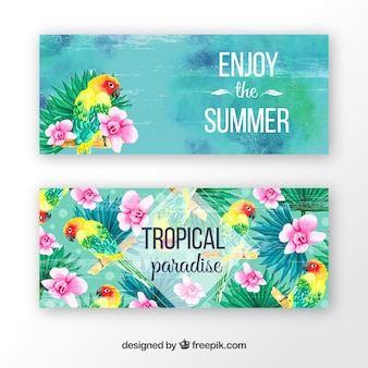 Watercolor banners with tropical flowers