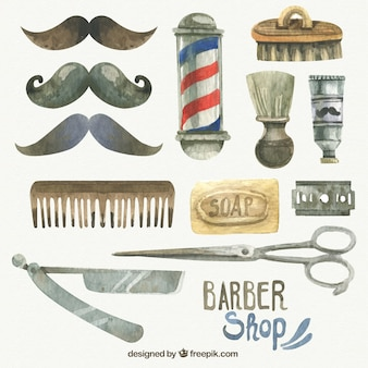 Watercolor barber shop objects