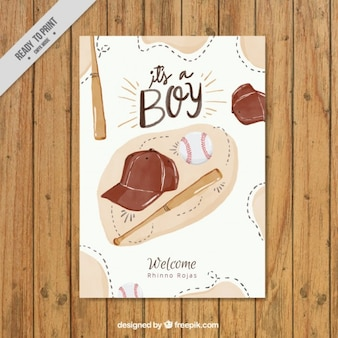 Watercolor baseball elements baby shower card