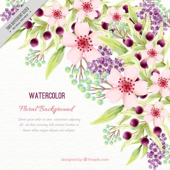 Watercolor beautiful background with flowers