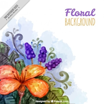 Watercolor beautiful flowers background
