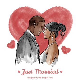 Watercolor beautiful just married couple