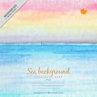 Watercolor beautiful summer day in the beach background