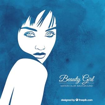 Watercolor beauty girl background
