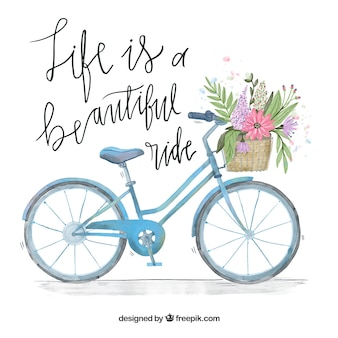 Watercolor bicycle background with basket and message