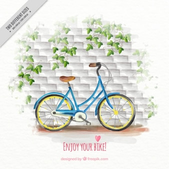 Watercolor bike in front of bricks wall background