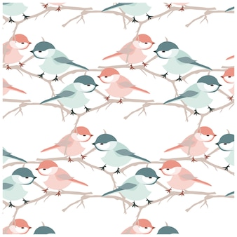 Watercolor bird pattern background