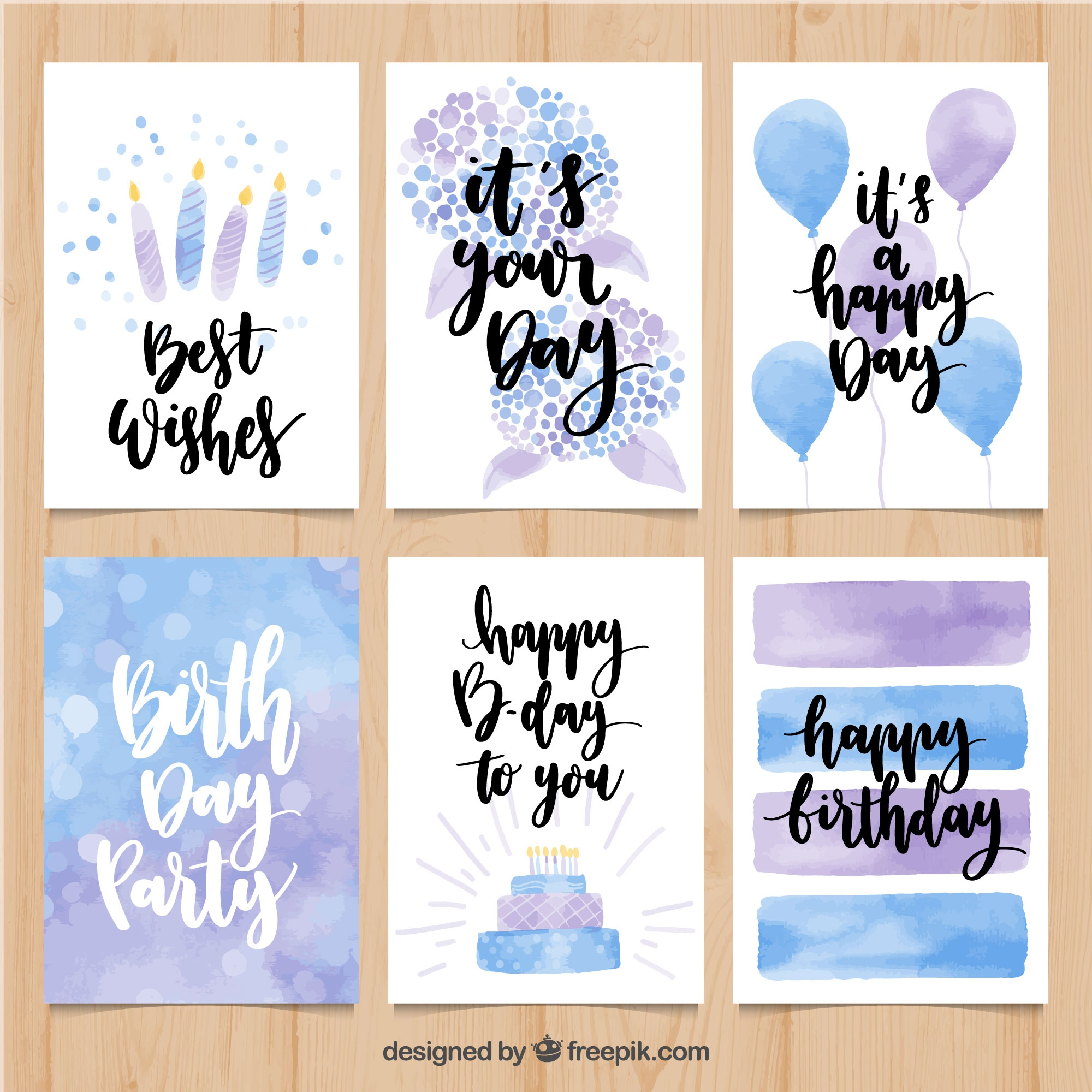 Watercolor birthday card pack