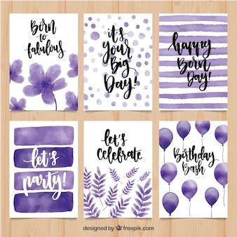 Watercolor birthday greetings set in purple tones