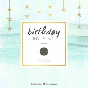 Watercolor birthday invitation with stars