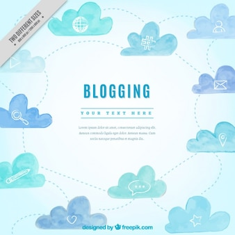 Watercolor blog background with icons and clouds