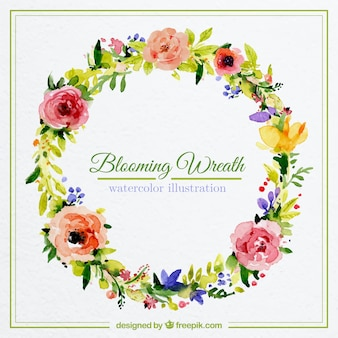 Watercolor blooming wreath