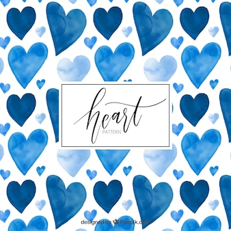 Watercolor blue hearts pattern
