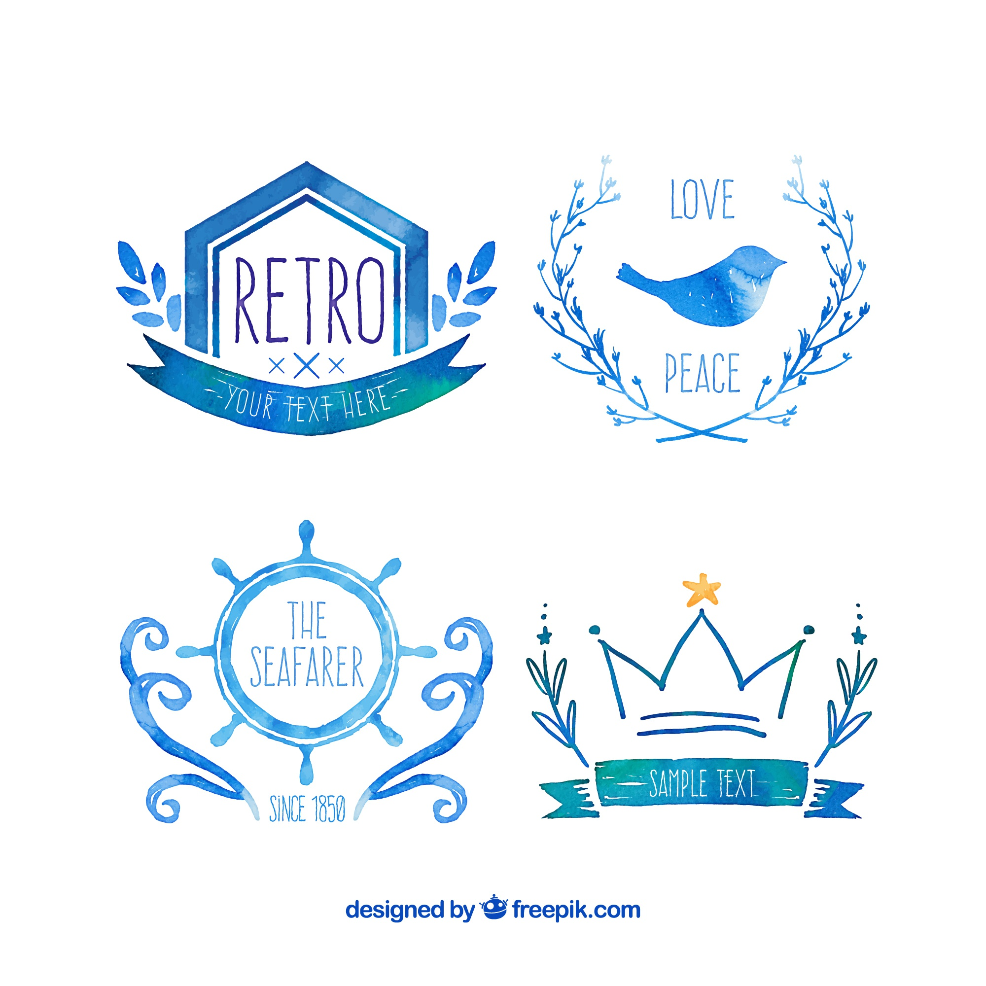 Watercolor blue logos in retro style
