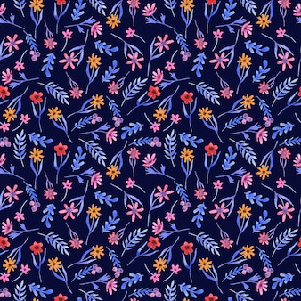 Watercolor blue pattern with flowers