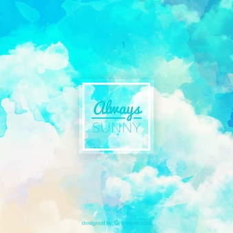 Акварели голубое небо с облаками фоне