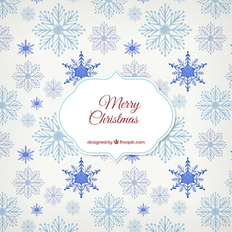 Watercolor blue snowflakes background