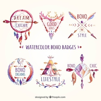 Watercolor boho badges