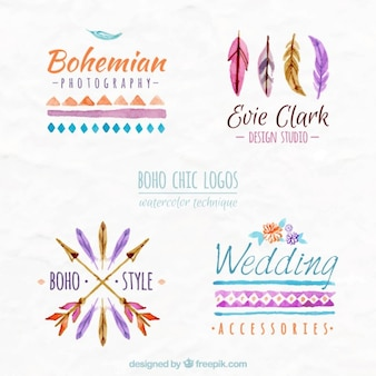 Watercolor boho chic logos