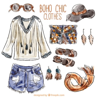 Watercolor boho clothes