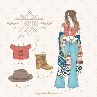 Watercolor boho girl