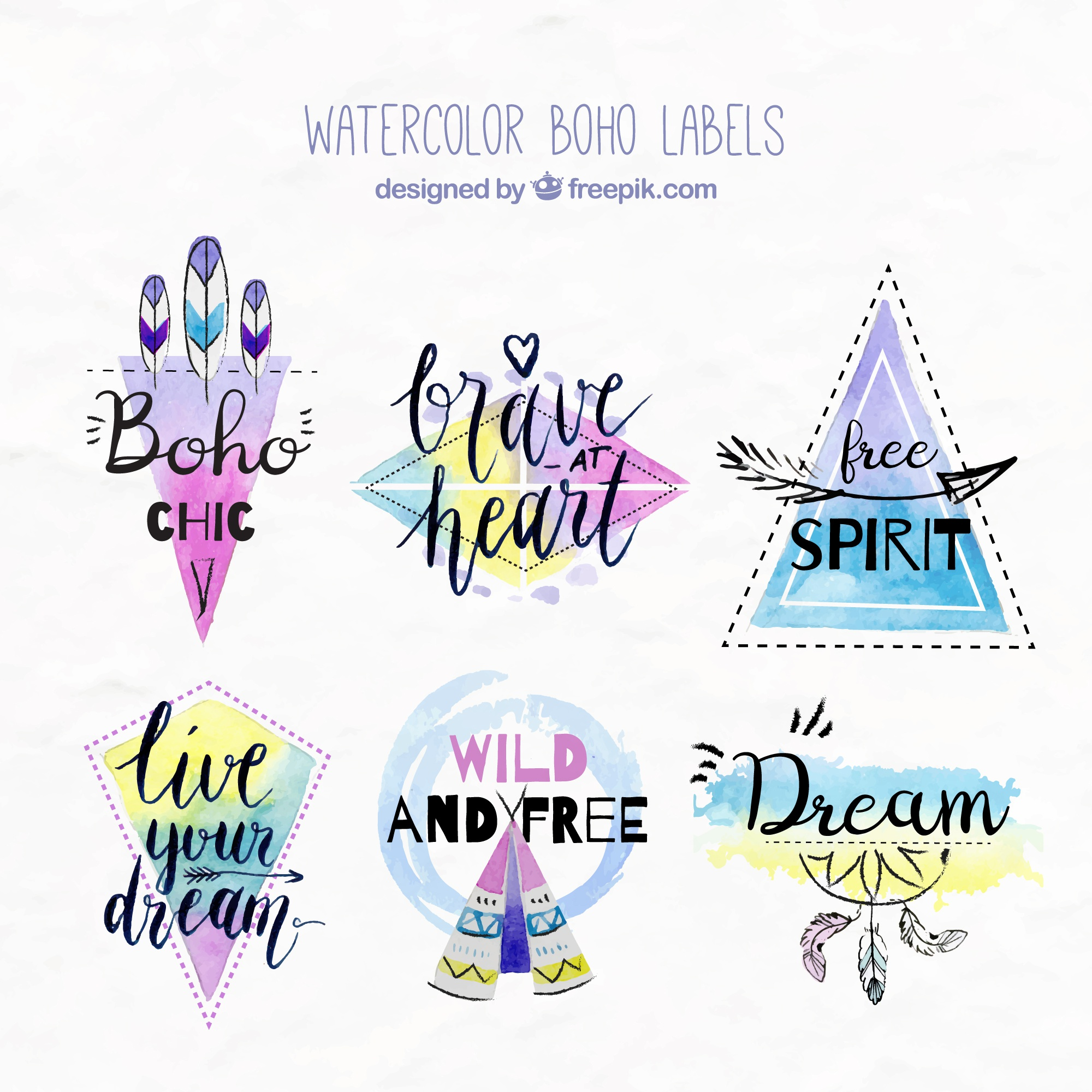 Watercolor boho stickers with inspiring messages