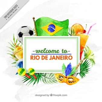Watercolor brazil elements background of olympic games