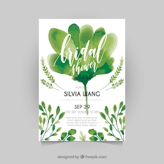 Watercolor bridal shower invitation with green plants