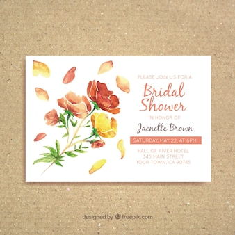 Watercolor bridal shower invitation with pretty flowers