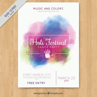 Watercolor brochure holi festival