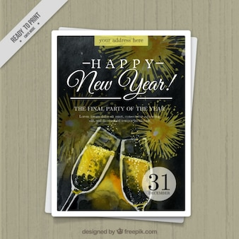 Watercolor brochure of new year toast