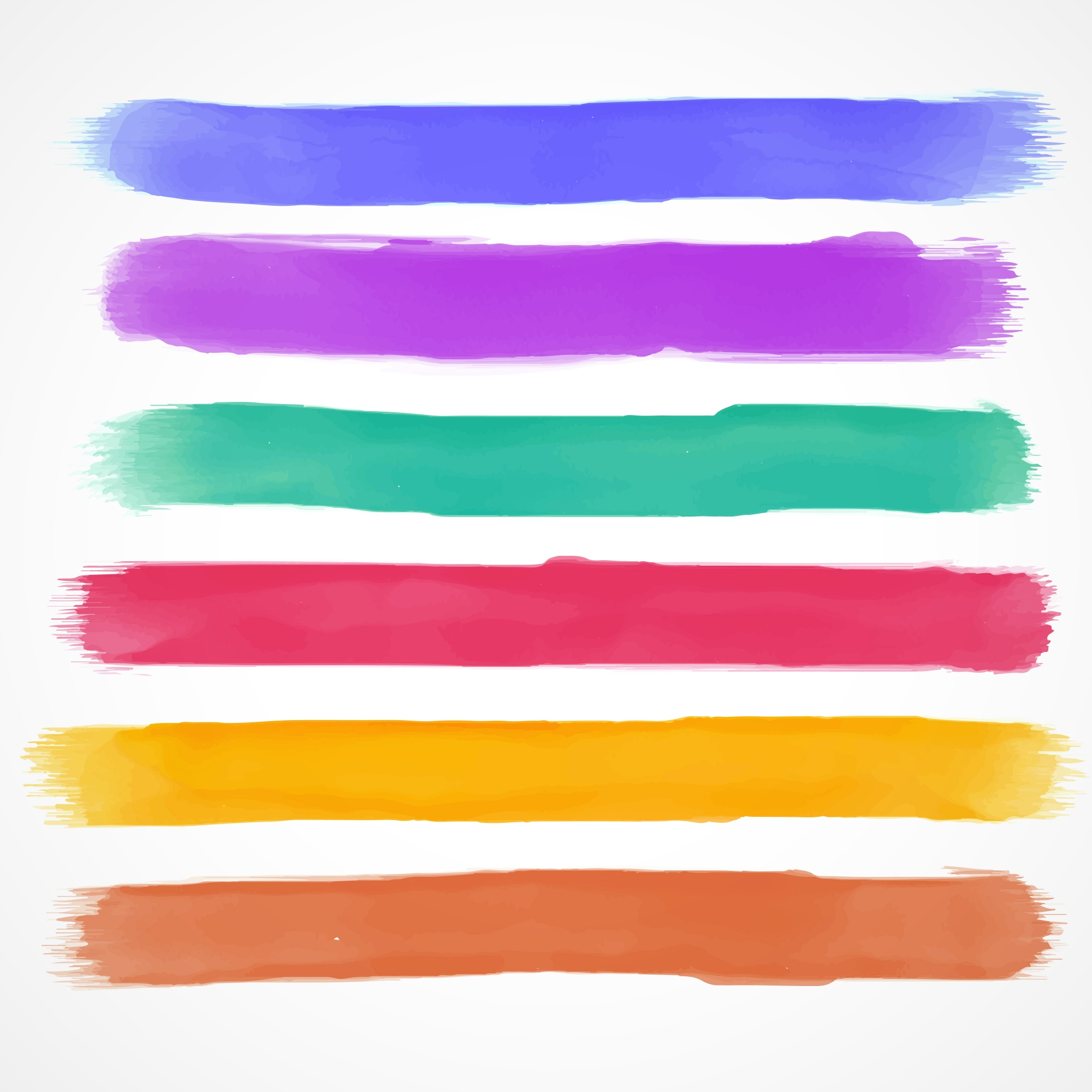 Watercolor brush stroke collection of 6