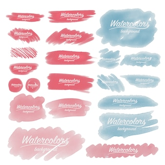 Watercolor brush strokes collection