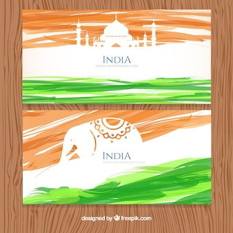 Watercolor brush strokes india banners