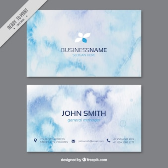 Watercolor business card in blue tones