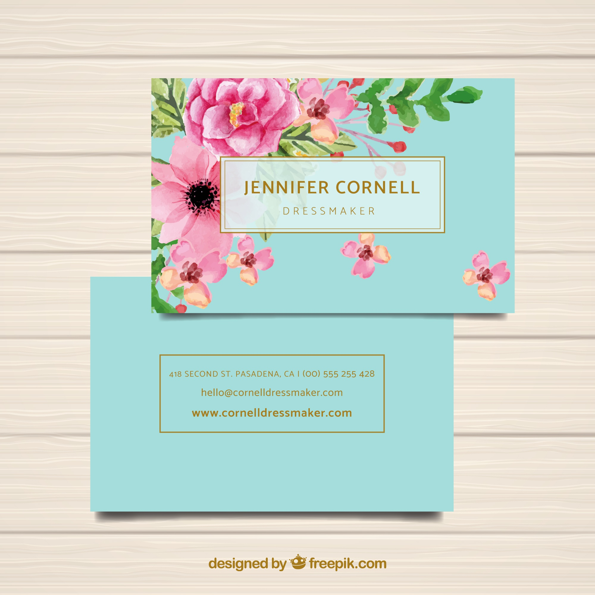 Watercolor business card template with flowers