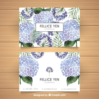 Watercolor business card with decorative flowers