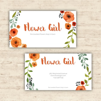 watercolor business card with flowers