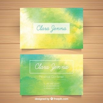 Watercolor business card with fun style