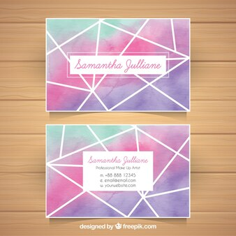 Watercolor business card with geometry