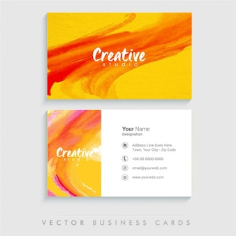 Watercolor business card with stripes