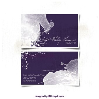Watercolor business card with white splatters