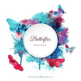 Watercolor butterflies label