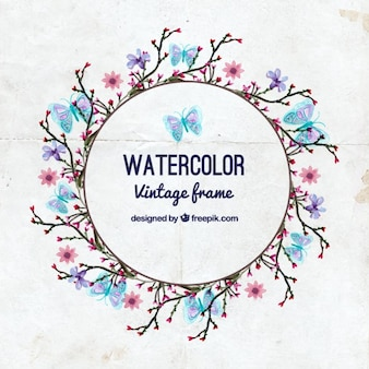 Watercolor butterflies with branches wreath