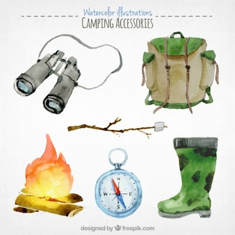 Watercolor camping accesories pack