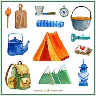 Watercolor camping tent and campsite elements