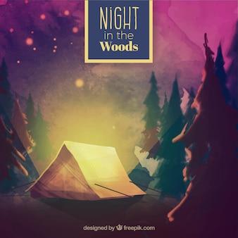 Watercolor camping tent ina beautiful wood